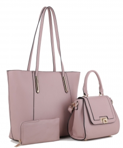 Tassel Accent 3 in 1 Tall Tote Set FC19184 BLUSH