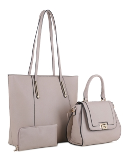 Tassel Accent 3 in 1 Tall Tote Set FC19184 LTAUPE