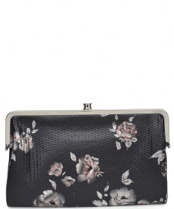 Urban Expressions Faux Leather Wallet  Metal hardware Complements Classic Style 7287F-UR SANDRA FLORAL BLACK