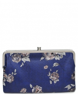 Urban Expressions Faux Leather Wallet  Metal hardware Complements Classic Style 7287F-UR SANDRA FLORAL NAVY