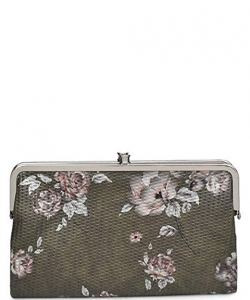 Urban Expressions Faux Leather Wallet  Metal hardware Complements Classic Style 7287F-UR SANDRA FLORAL OLIVE