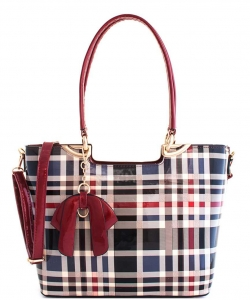 3 in 1 Plaid Design Patent Leather Medium Satchel with  Matching Wallet GZ7302 RED