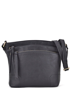 All-In-One Tassel Detailed Crossbody Bag/ Messenger Bag with Double-zipped front compartment WU059 BLACK