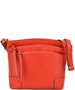 All-In-One Tassel Detailed Crossbody Bag/ Messenger Bag with Double-zipped front compartment WU059 BRICK