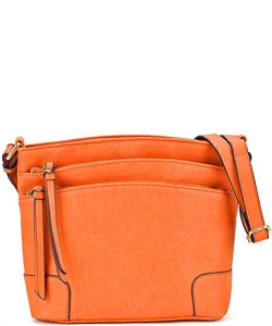 All-In-One Tassel Detailed Crossbody Bag/ Messenger Bag with Double-zipped front compartment WU059 CARROT