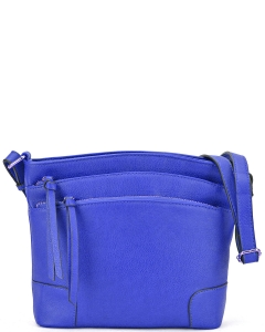 All-In-One Tassel Detailed Crossbody Bag/ Messenger Bag with Double-zipped front compartment WU059 ROYAL BLUE