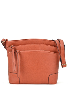 All-In-One Tassel Detailed Crossbody Bag/ Messenger Bag with Double-zipped front compartment WU059 TAN