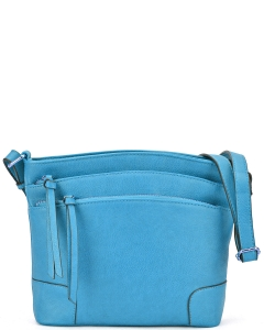 All-In-One Tassel Detailed Crossbody Bag/ Messenger Bag with Double-zipped front compartment WU059 TURQUOISE