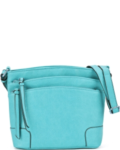 All-In-One Tassel Detailed Crossbody Bag/ Messenger Bag with Double-zipped front compartment WU059 TORQUIOSE