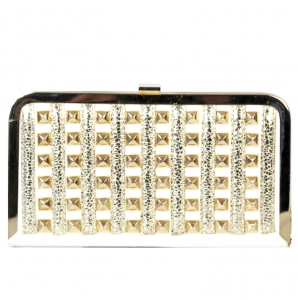 Designer Inspired Clutch w/ Gold Tone Stud Decor