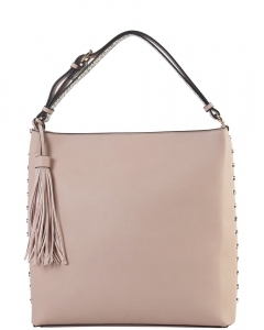 Crossbody Bag is Accented with Studs and Tassel for a Fashionable RM8047 PINK