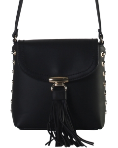 Crossbody Bag is Accented with Studs and Tassel for a Fashionable RM8045 BLACK