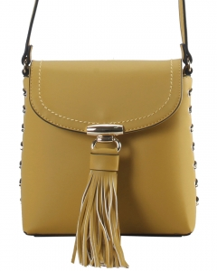 Crossbody Bag is Accented with Studs and Tassel for a Fashionable RM8045 YELLOW