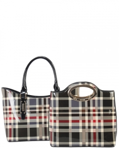 Tote Multicolor 2 IN 1 Two One Checked Tote Bag GZ6928 BLACK