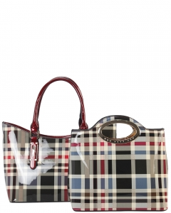 Tote Multicolor 2 IN 1 Two One Checked Tote Bag GZ6928 RED