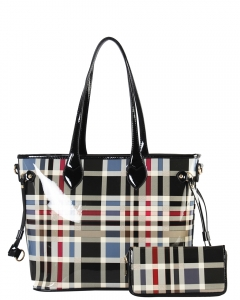 Tote Multicolor 2 IN 1 Two One Checked Tote Bag GZ8009W BLACK