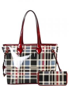 Tote Multicolor 2 IN 1 Two One Checked Tote Bag GZ8009W RED