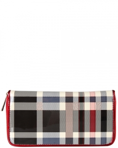 Patent Checkered Zip Around Wallet Design GZ705 RED