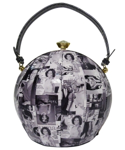 Magazine Printed Unique Ball Shape Fashion Bag 28-MP3624 BLACK