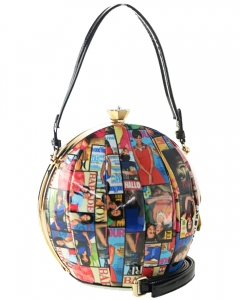 Magazine Printed Unique Ball Shape Fashion Bag 28-MP3624 MULTI