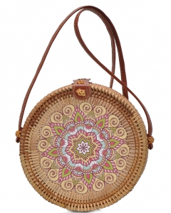 Round Bamboo Straw Woven Shoulder Bag Genuine Leather Strap Purse Women Buckle Closure BGA-82637 NATURAL