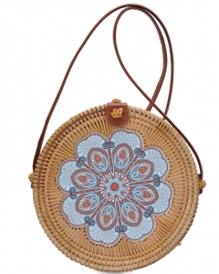 Round Bamboo Straw Woven Shoulder Bag Genuine Leather Strap Purse Women Buckle Closure BGA-82635 NATURAL