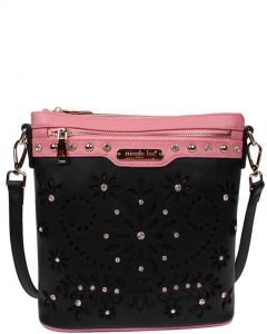 NICOLE LEE Astrid Floral Laser Cut Crossbody P11572 BLACK
