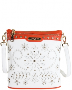 NICOLE LEE Astrid Floral Laser Cut Crossbody P11572 WHITE