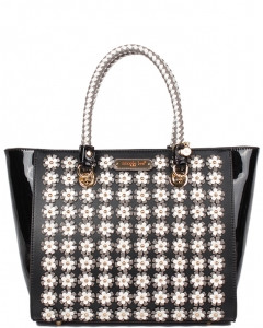 NICOLE LEE   Flower Ladies Tote Bag Enamel Flower Check Pattern P12399 BLACK