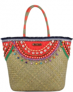Nicole Lee Natalya Sea Shell Straw Shopper Bag STR12672