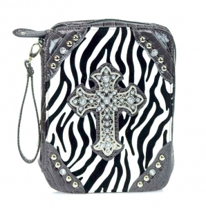 Designer Inspired Fuax Crocodile Skin Corners Like Bible Case w/ Rhinestone Cross Accent & Zebra Print