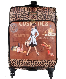 "Nicole Lee Cleo 20"" Expandable 4 Spinner Wheels Rolling Carry-on Print Collection lg1420"