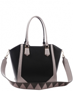 Fashion Handbag For Women Top Handle Satchel Bag ES1220 BLACK/GREY