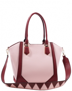 Fashion Handbag For Women Top Handle Satchel Bag ES1220 PINK/WINE
