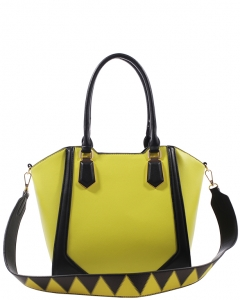 Fashion Handbag For Women Top Handle Satchel Bag ES1220 YELLOW/BLACK