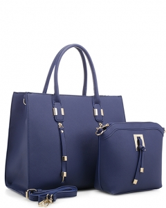 Tassel Accent 2 in 1 Tall Tote Set EW1877 NAVY