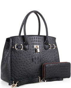 Padlock Accent Ostrich Embossed Large Tote Wallet SET EW1552 BLACK