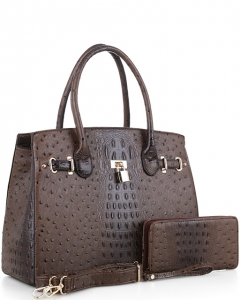 Padlock Accent Ostrich Embossed Large Tote Wallet SET EW1552 COFFEE