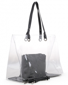 Beach Bag Waterproof Clear Handbag for Women plastic shoulder bag CW1983 BLACK