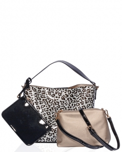 Black and Silver Patent Vegan Leather Leopard Pattern Handbag BW1472