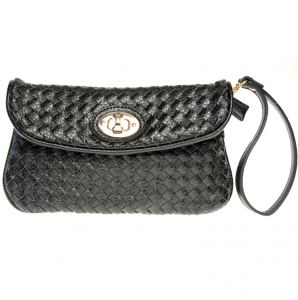 Designer Inspired Faux Leather Clutch w/ Weaved Design