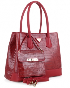 Crocodile 2 in 1 Satchel Faux Leather Handbag EW1864 BURGANDY