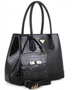 Crocodile 2 in 1 Satchel Faux Leather Handbag EW1864 BLACK