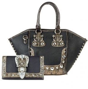 Combo! Western Inspired Faux Leather Handbag w/ Silver Tone Stud Accent and Matching Wallet