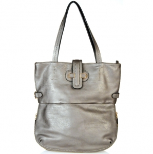 Designer Inspired Faux Leather Handbag w/ Magnate Button Closure.
