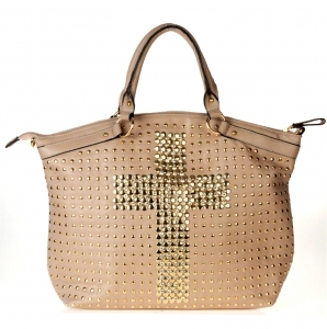 Designer Inspired Faux Leather Handbag w/ Cross Design in Rhinestone and Stud Decor