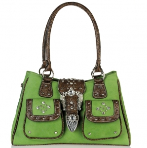 Western Inspired Leatherette Handbag w/ Rhinestone Accent and Twin Pockets in front