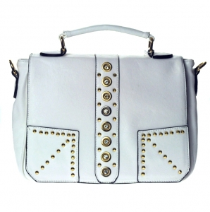 Designer Inspired Leatherette Handbag w/ Gold Tone Studs and Rhinestone Decor.