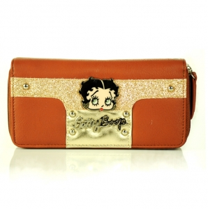 Original Betty Original Betty Boop Double Zipper Entry, Glitter Accent & Wristlet Handle