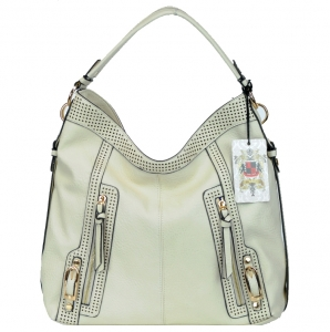 UE Vegan Leather Stylish Handbag w/ Zipper Pockets in Front.